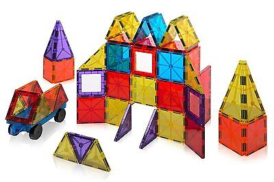 Playmags Clear Colors Magnetic Tiles Building Set 60 Piece Deluxe Starter Set