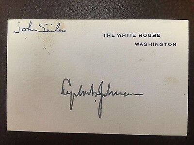 Signed President Lyndon Johnson White House card autographed