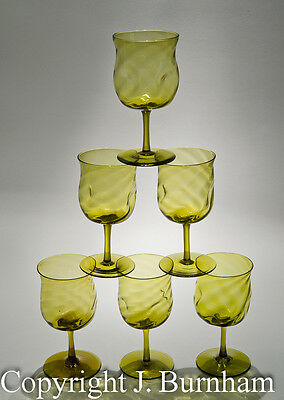Set of 6 - Antique Arts & Crafts - Green Wine Glasses with Dimple Twist Bowls