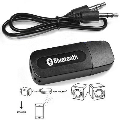 Black A2DP AUX Music 3.5mm Audio Bluetooth USB Wireless Stereo Receiver Speaker