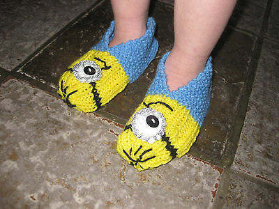Minion or evil minion slippers ,hand knitted ,girls, boys .