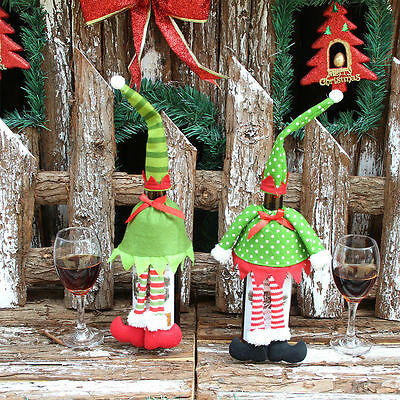 2pcs Cute Wine Bottle Cover Bags Christmas Dinner Table Home Party Decors - PAIR