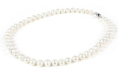 9 MM WHITE FRESHWATER PEARL NECKLACE -nk163