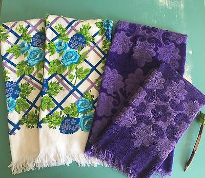 Vintage Cannon Towels Lot Of 4 Purple, Turquoise & Green (BinG)