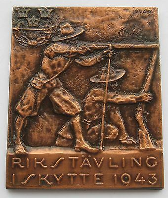 Sweden WWII Period National Contest in Shooting 1943 Plaque 49gr 47x57mm