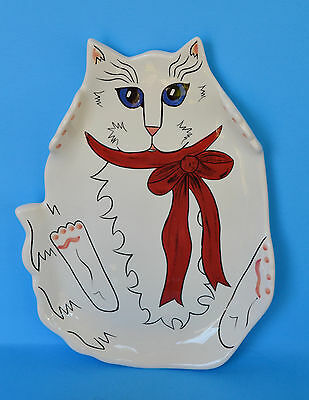 Cats By Nina White Ceramic Cat Plate - Perfect For Cookies!