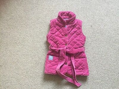 Joules Girls Pink Quilted Gilet Bodywarmer Age 5 Years