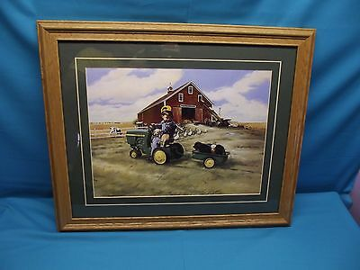 """John Deere Pedal Tractor """"Zolan Girl"""" Print Signed By Donald Zolan"""