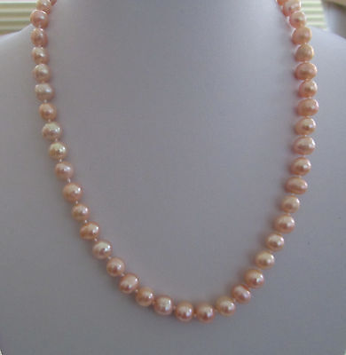 Peach Freshwater Pearl Necklace with 925 Silver clasp