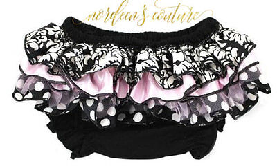 Baby Ruffle Diaper Cover Bloomers Black Pink White Damask