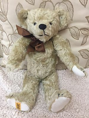 Merrythought Modern Teddy Limited Addition 126/500 With Growler Golden Mohair