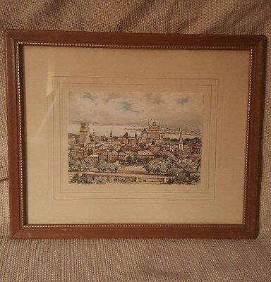 Lovely vintage framed pen and ink cityscape drawing