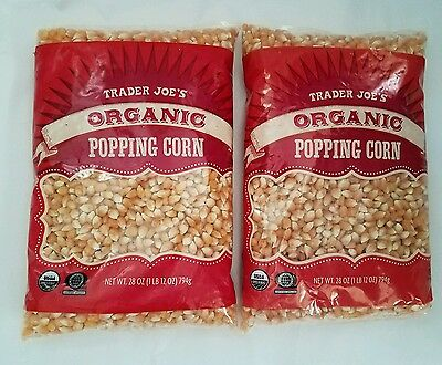 Trader Joe's Organic Popping Corn QTY 2 - 28 oz. Bags GREAT HEALTHY SNACK