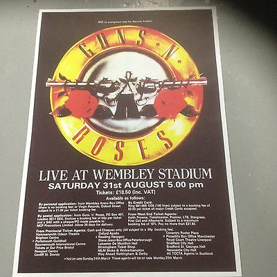 Guns N Roses - Concert Poster Wembley Stadium London Saturday 31St August   (A3)