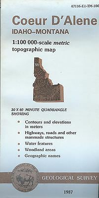 US Geological Survey topographic map metric COEUR D'ALENE 1987