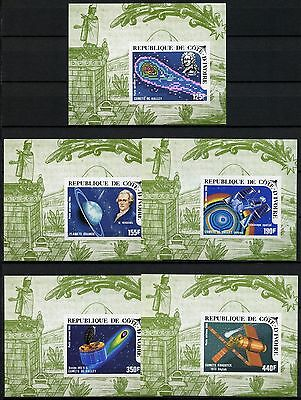 Space Raumfahrt 1986 Ivory Coast Halley`s Comet 888-892 Deluxe Imperf MNH/1344