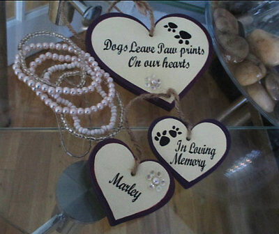 "Personalised pet ' dogs leave paw prints on our hearts"" memorial gift plaque sig"