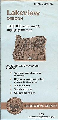 US Geological Survey topographic map metric LAKEVIEW Oregon 1990 (1975)