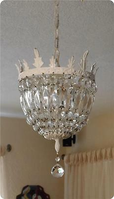 Vintage White Shabby Cottage Chic 3 Light Crystal Brass Petite Chandelier