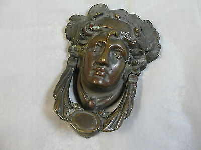 VTG Antique Bronze Heavy Door Knocker Athena Godess Woman Lady rare
