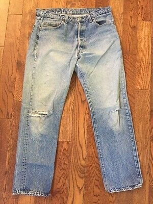 Vintage Distressed Made In USA Levi's 501 Denim Jeans - 35 X 29