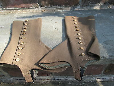 REENACTOR 19th C ANTIQUE VICTORIAN/EDWARDIAN HIGH TOP LADIES SHOE COVER SPATS