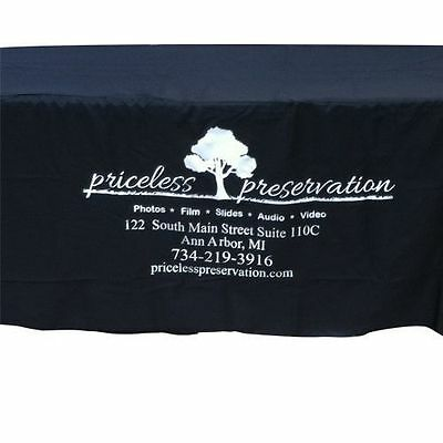 6 Foot Fitted Table Cloth - Custom Printed w/ Business Logo for Events / Booths