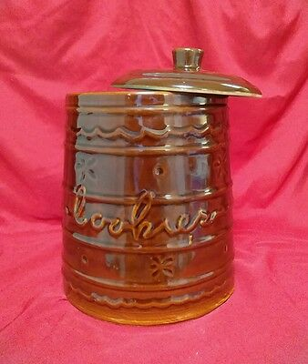 Great BROWN MARCREST LARGE DAISY DOT COOKIE JAR LID Mar Crest 1960s Americana