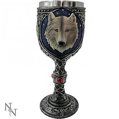 Wolf Goblet Cup with Stainless Steel Insert GOTHIC FANTASY MEDIEVAL CELTIC