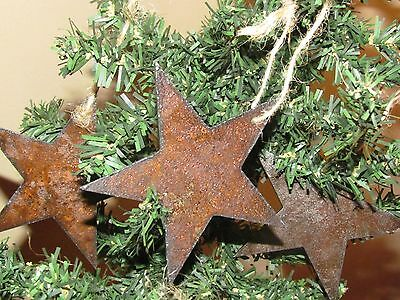 Rustic Metal Star Christmas Ornaments (set of 5)