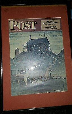 Vintage framed Saturday Evening Post from 8/3/46 featuring Norman Rockwell art