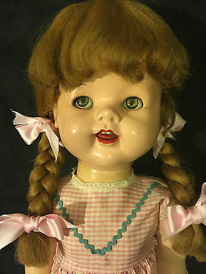 Ideal Saucy Walker Doll Hp 1950's Vtg. 22'' Tall Blonde Hair And Green Eyes