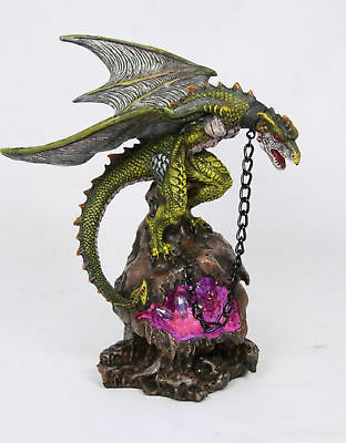 Green Throne Dragon statue on light up crystal geode cave, Great Gift!