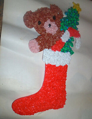 Vintage Christmas Bear in Stocking Melted Plastic Popcorn Decoration