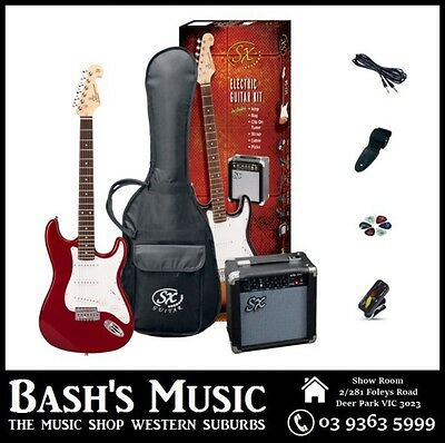 SX ¾ Size Electric Guitar Starter Package with Amp + Tuner + Bag Red