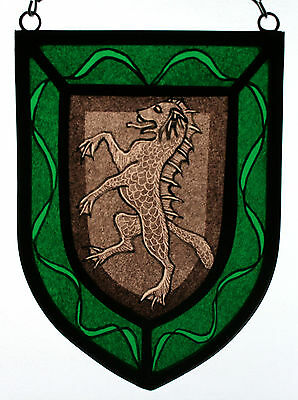 Stained Glass,Hand Painted,Kiln Fired, Sea Dog Heraldic Shield Panel, 1301-06