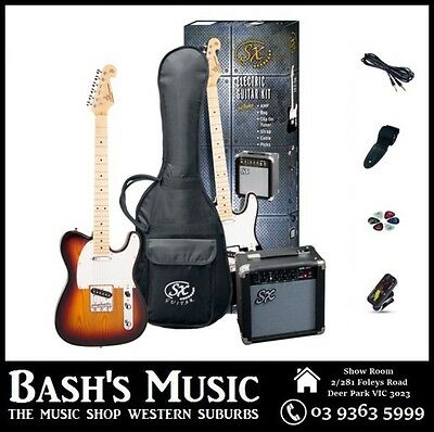 SX Telecaster Electric Guitar Starter Package with Amp + Tuner + Bag 3 Tone Sunb