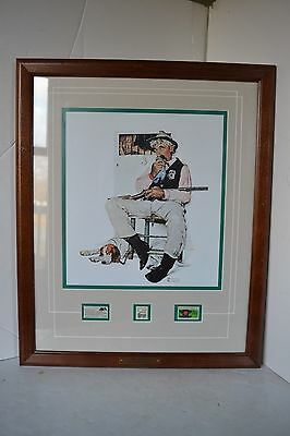 Framed Picture Norman Rockwell Police Shierff Wood Postage Stamps Print