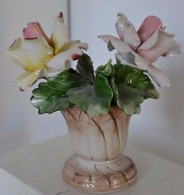 Vintage Italy Small Rose Flower Vase Capodimonte Porcelain