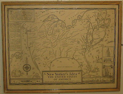 RARE Vintage 1934 'NEW YORKER'S idea of UNITED STATES of AMERICA' Pictorial Map