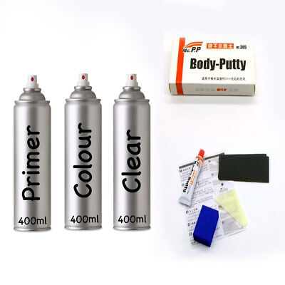 Ford Touch Up Spray Paint Winter White [Fg-Cleaner] A1 3 Cans & Putty Kit