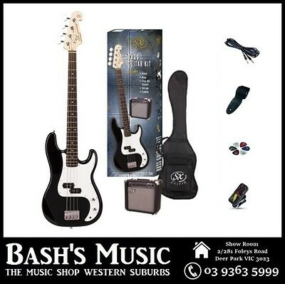 SX PB Bass Guitar Starter Package with Amp + Tuner + Bag Black