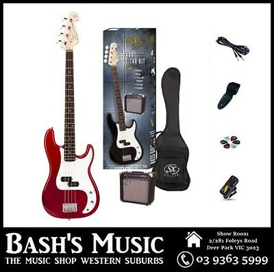 SX PB Bass Guitar Starter Package with Amp + Tuner + Bag Red