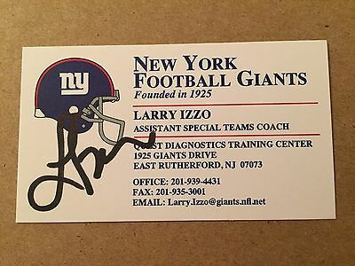 LARRY IZZO autograph NEW YORK GIANTS 3x SUPER BOWL champ PATRIOTS business card