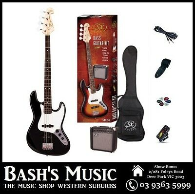 SX JB Bass Guitar Starter Package with Amp + Tuner + Bag Black