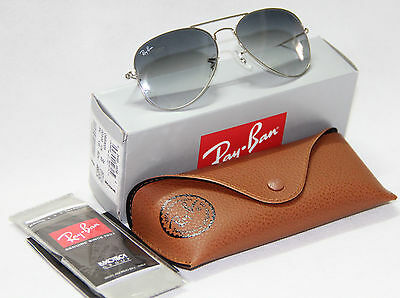 Geunine Ray Ban Aviator RB3025 003/32 all size Silver Frame Gray Gradient Unisex