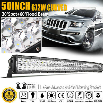 50Inch Cree Curved Led Work Light Bar 672W Flood Spot Truck Suv Driving 52'' 4X4