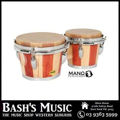Mano MP714 Percussion Bongo Tunable 7 and 8 inch Skins Dark and Light Brown