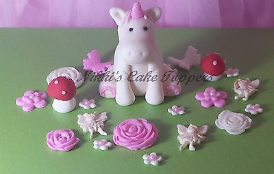 edible 3d White unicorn Horse magical fairy girls cake toppers decoration