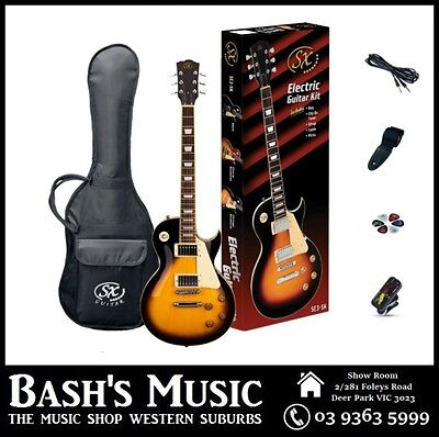 SX LP Style Electric Guitar Starter Package with Amp + Tuner + Bag Vintage Sunbu